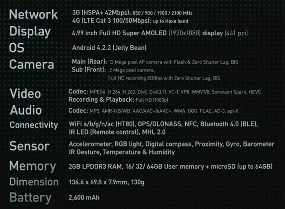 موصفات الهاتف Samsung Galaxy S4