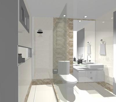 banheiro com mármore travertino e cuba de semi-encaixe