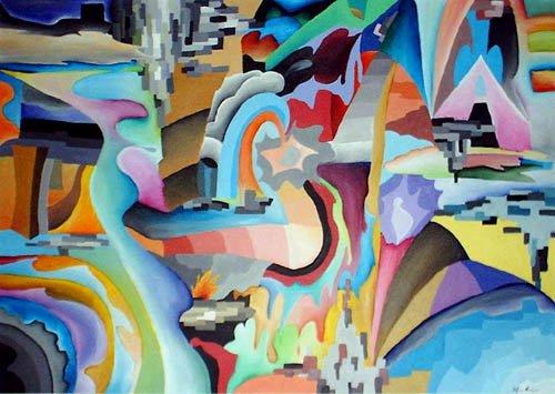 metropolis astratto dipinto pittura orme magiche quadro disegno pittura