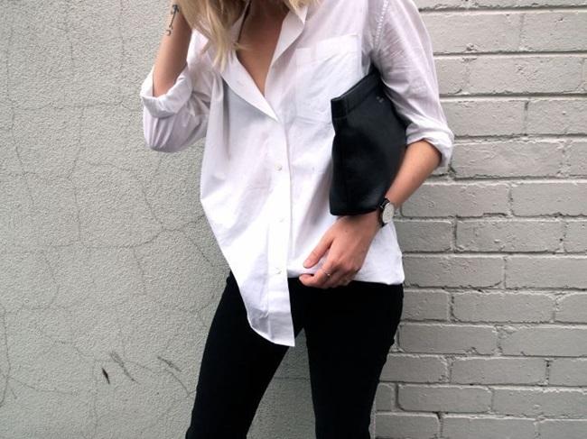 minimal classic white shirt black jeans