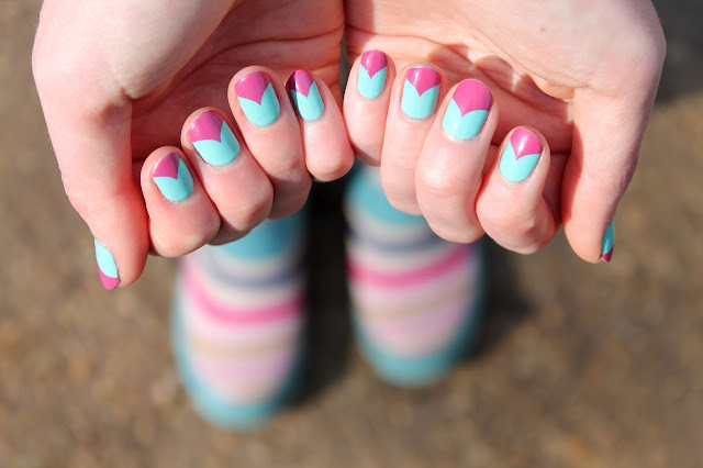 pink and blue nail art