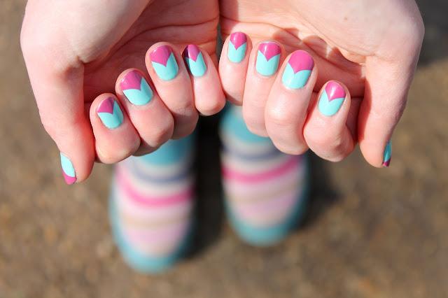 pink and blue nail art
