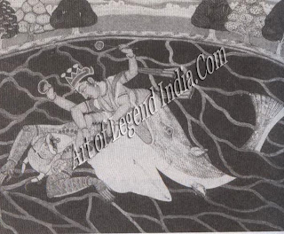 Matsya killing Damanaka, the demon who stole the Vedas and hid in a conch-shell