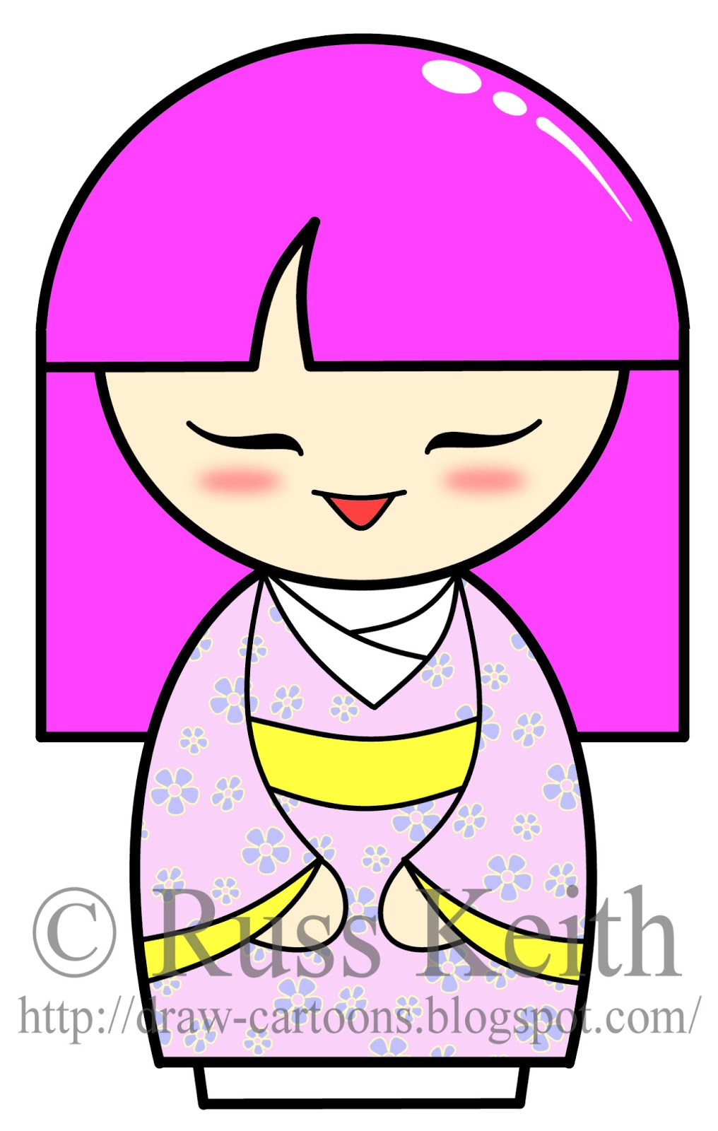 How To Draw Kokeshi Dolls
