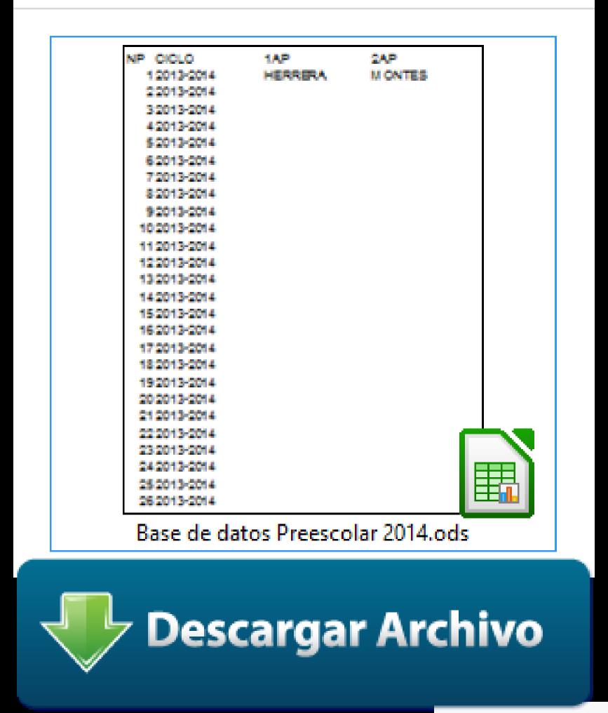 Descargar Base de datos Preescolar