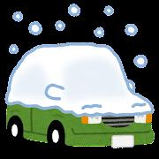 雪の積もる車のイラスト