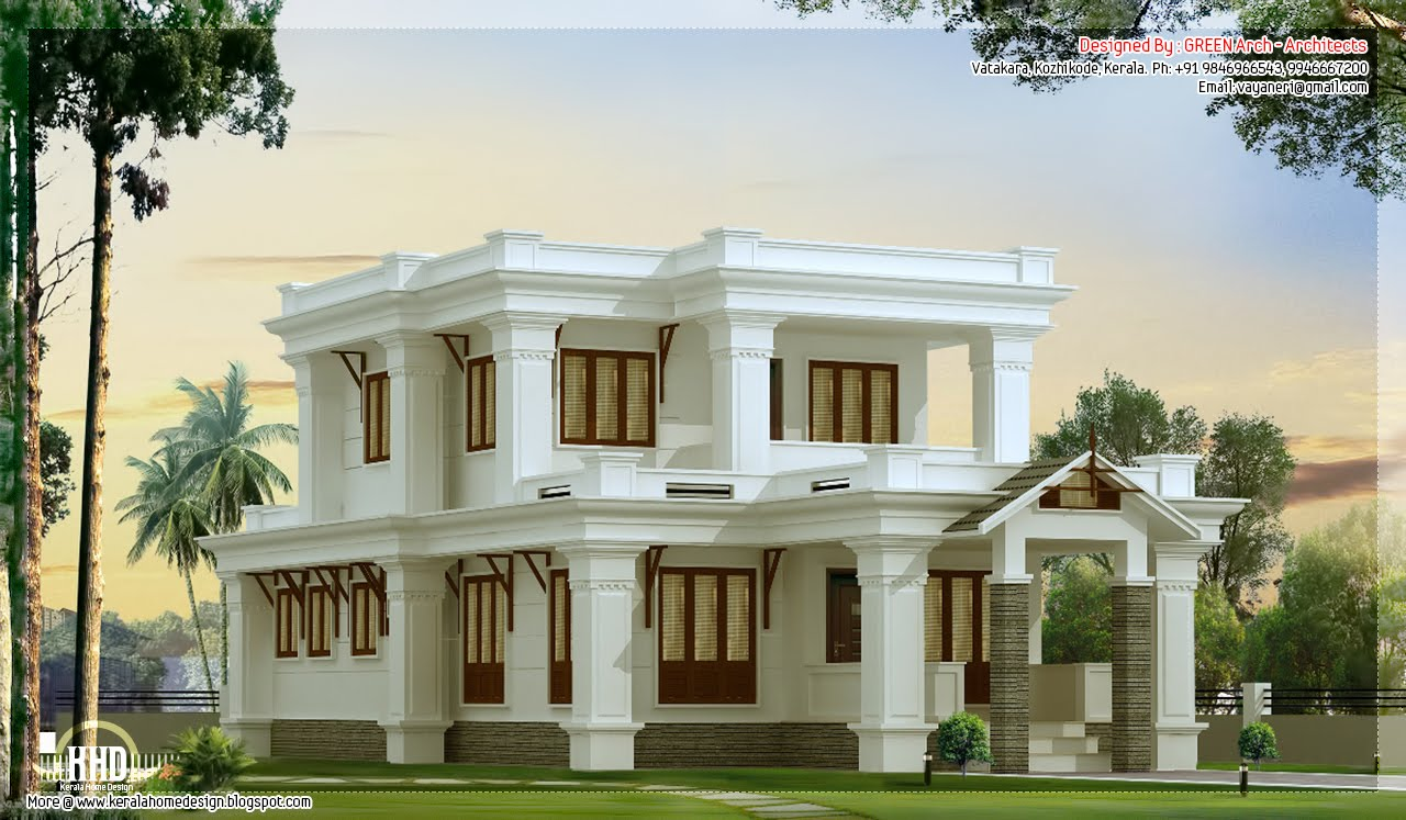2300 flat roof villa design kerala home design for Two storey house plans in kerala