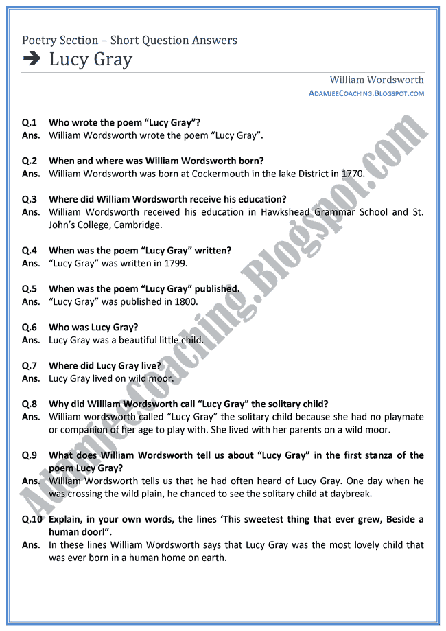 Lucy-Gray-Short-Question-Answers-English-XI