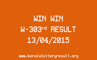 WIN WIN W 303 Lottery Result 13-4-2015