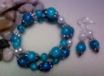 Turquois Cracked Glass Set w/ Ivory Pearls (can be worn as a choaker)