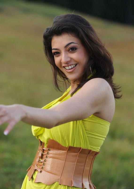 Spicy Kajal Agarwal In Hot Mood Yellow Dress Latest Stills Photos cleavage
