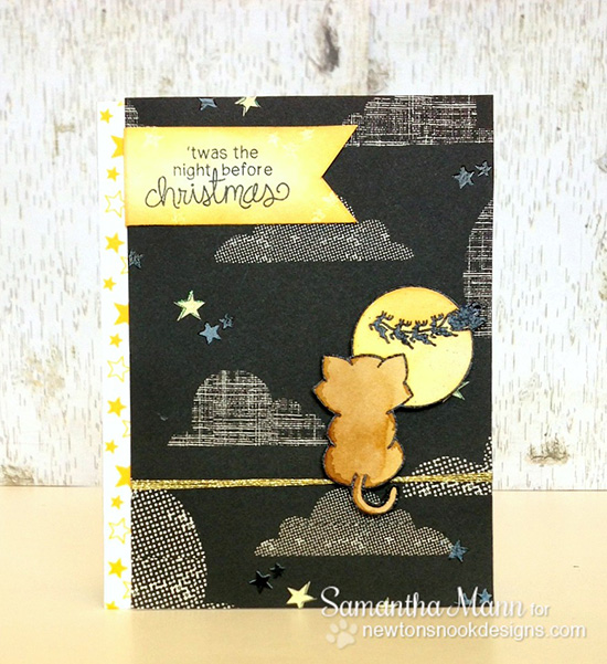 Night before christmas kitty card by Samantha Mann for Newton's Nook Designs - Newton's Curious Christmas Cat stamp set