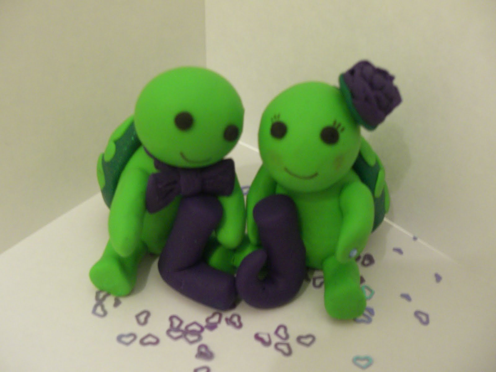 K Scott Crafts: L and J\'s turtle wedding cake topper