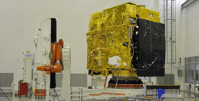 Astrosat during a pre-launch test in a clean room. Photo Credit: ISRO