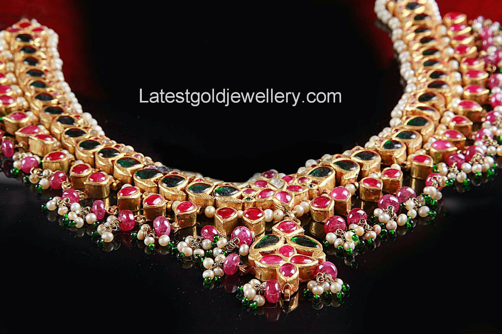 ruby and emeralds south indian necklace