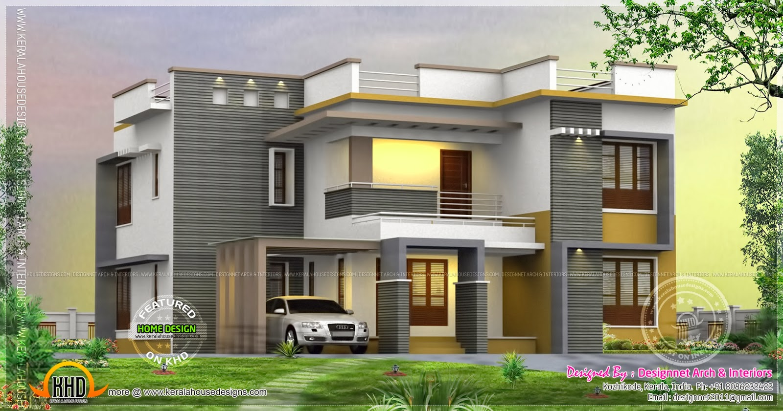 4 bedroom 2500 house rendering kerala home design for Best 2000 sq ft home design