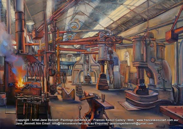 oil painting of Blacksmith's Forge painted at the Australian Technology Park, Eveleigh Railway Workshops by industrial heritage artist Jane Bennett