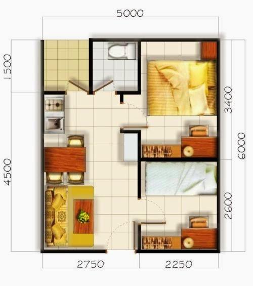 Contoh Denah Rumah Sederhana 2 Kamar