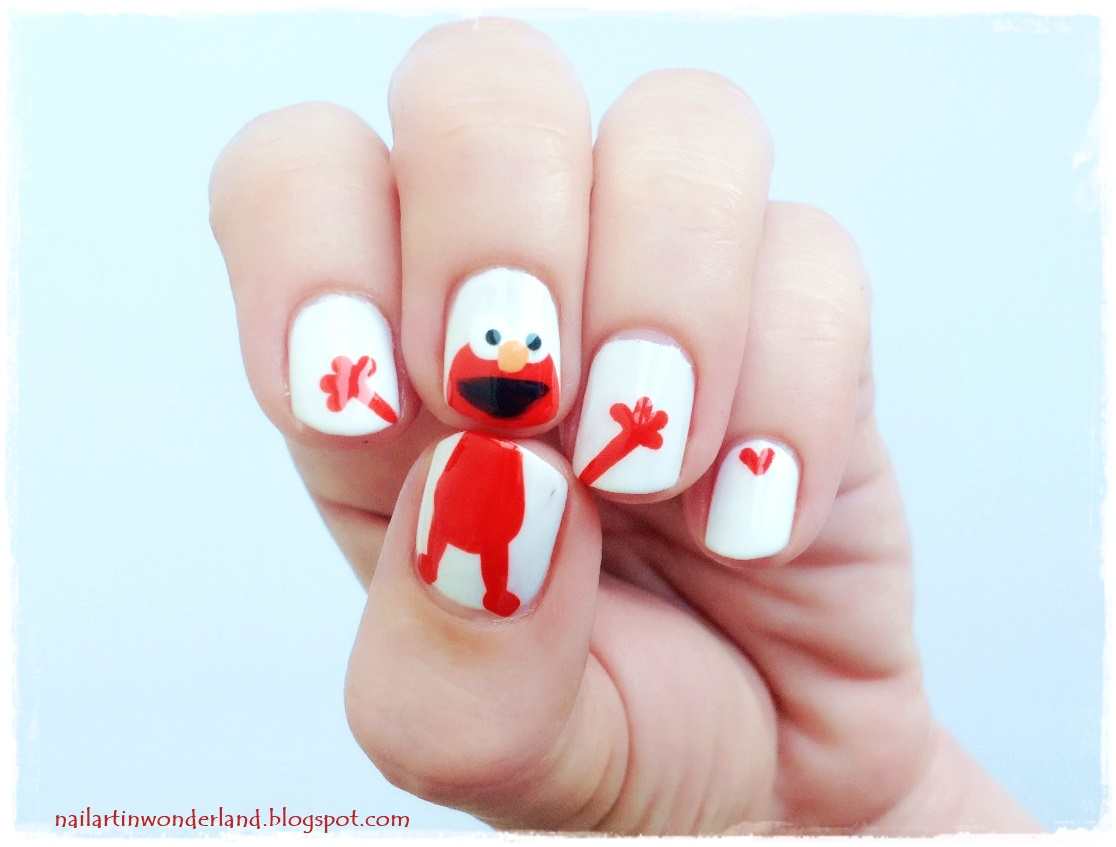 Sesame Street Elmo Nail Art / Cookie Monster Nail Art