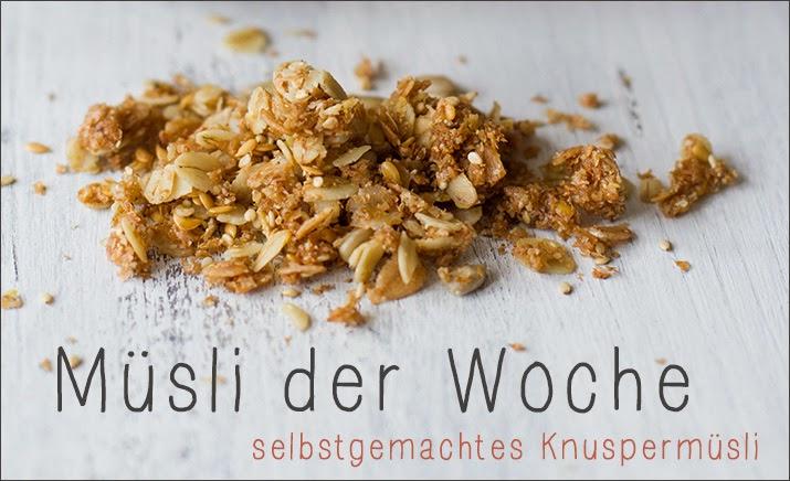 Müsli der Woche - Rezept für selbstgemachtes Knuspermüsli - Banner zur Wochenserie: jede Woche ein neues Rezept für ein Granola