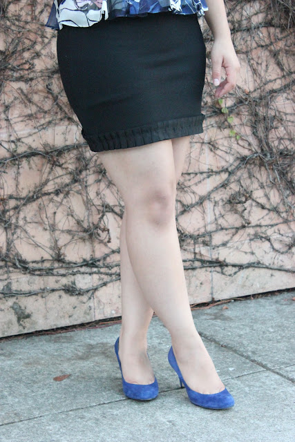 DVF Mini Skirt and Blue Heels
