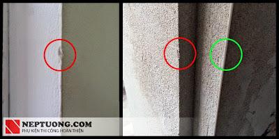 Tường trát thông thường rất dễ bị sứt (màu đỏ) - màu xanh là đã sử dụng A3-5 S, A 3-10 S chống sứt cạnh