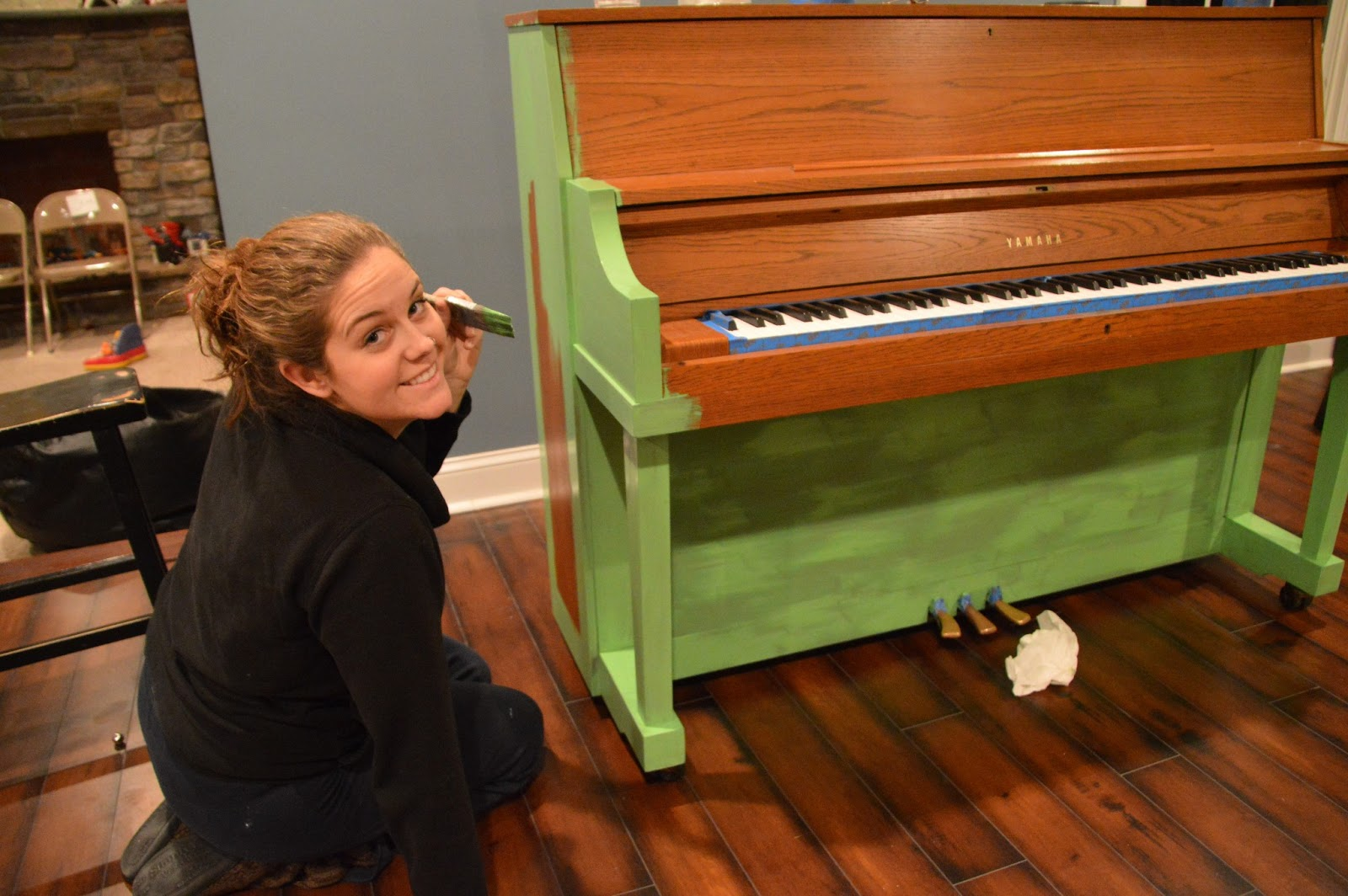 Green painted piano annie sloan chalk paint east coast for Chalk paint comparable to annie sloan