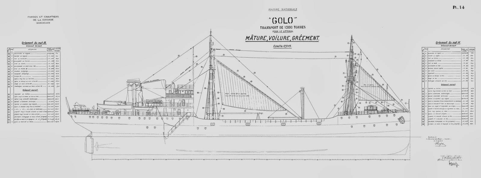 The Model Shipwright: Free Ship Plans of French Cargo Vessel Golo