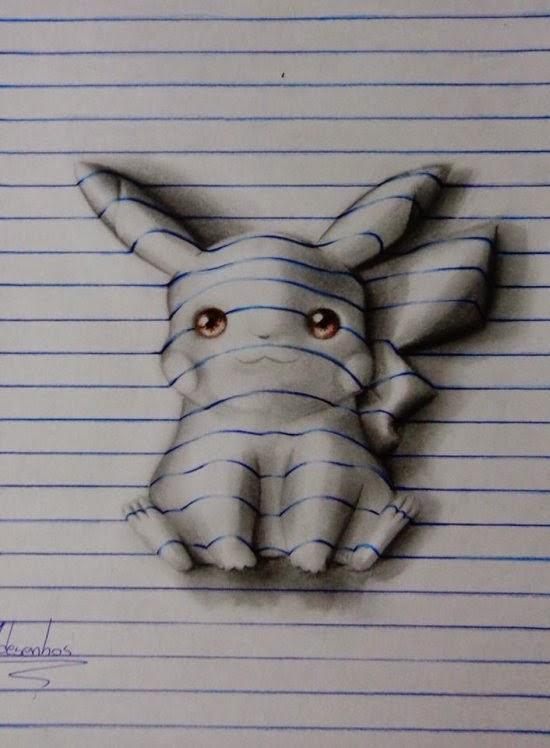 João A. Carvalho ilustrações ilusão de ótica 3D nas linhas do caderno