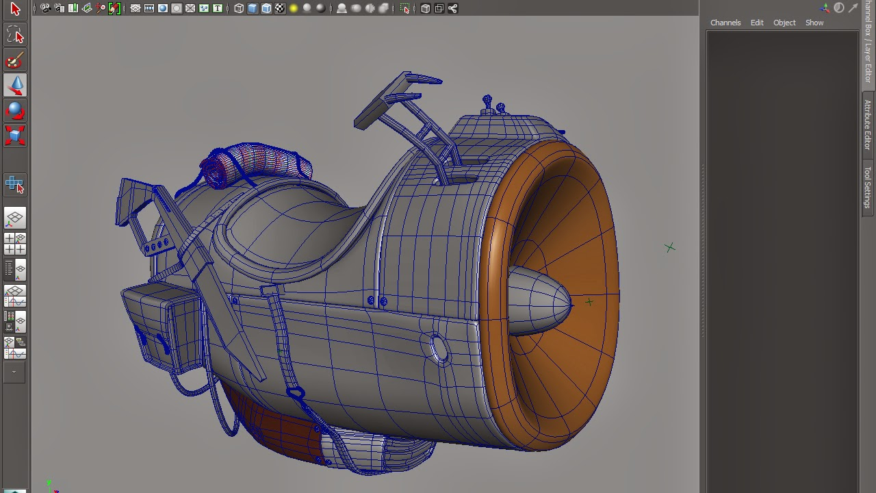 Cartoon SpaceShip in maya wireframe