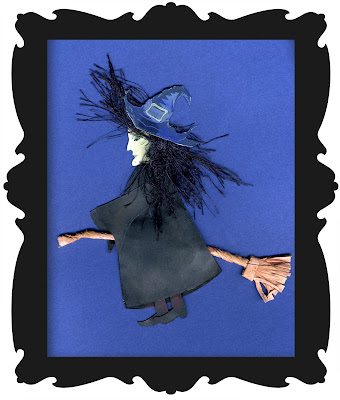 a clip art of a paper piecing witch flying on a broom for Halloween wearing a witches pointed hat