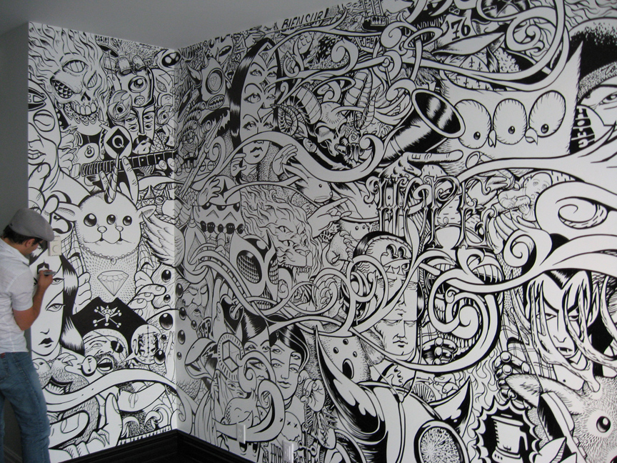 Tech in art surrealist games automatic drawing for Drawing mural on wall