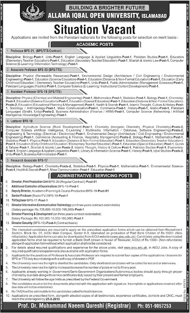 Lecturers Jobs in AIOU Islamabad