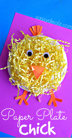 http://www.craftymorning.com/paper-plate-chick-craft-using-easter-grass/