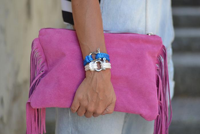 pochette rosa con frange