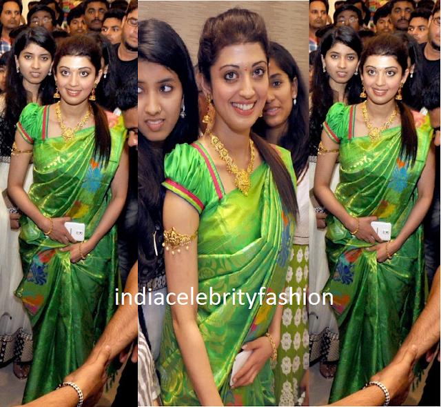 Pranitha in Green saree at Sareenikethan Showroom Launch