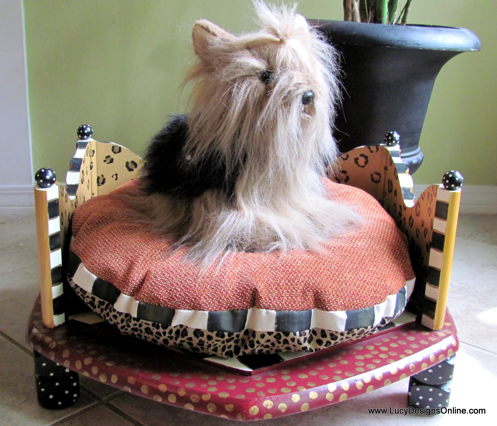 Hand painted round dog beds made from an end table in for Dog bed table