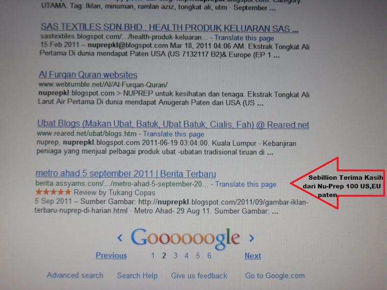 Rating nuprepkl.blogspot.com, 5 BINTANG, Sebillion Terima Kasih dari Nu-Prep 100 US,EU patent