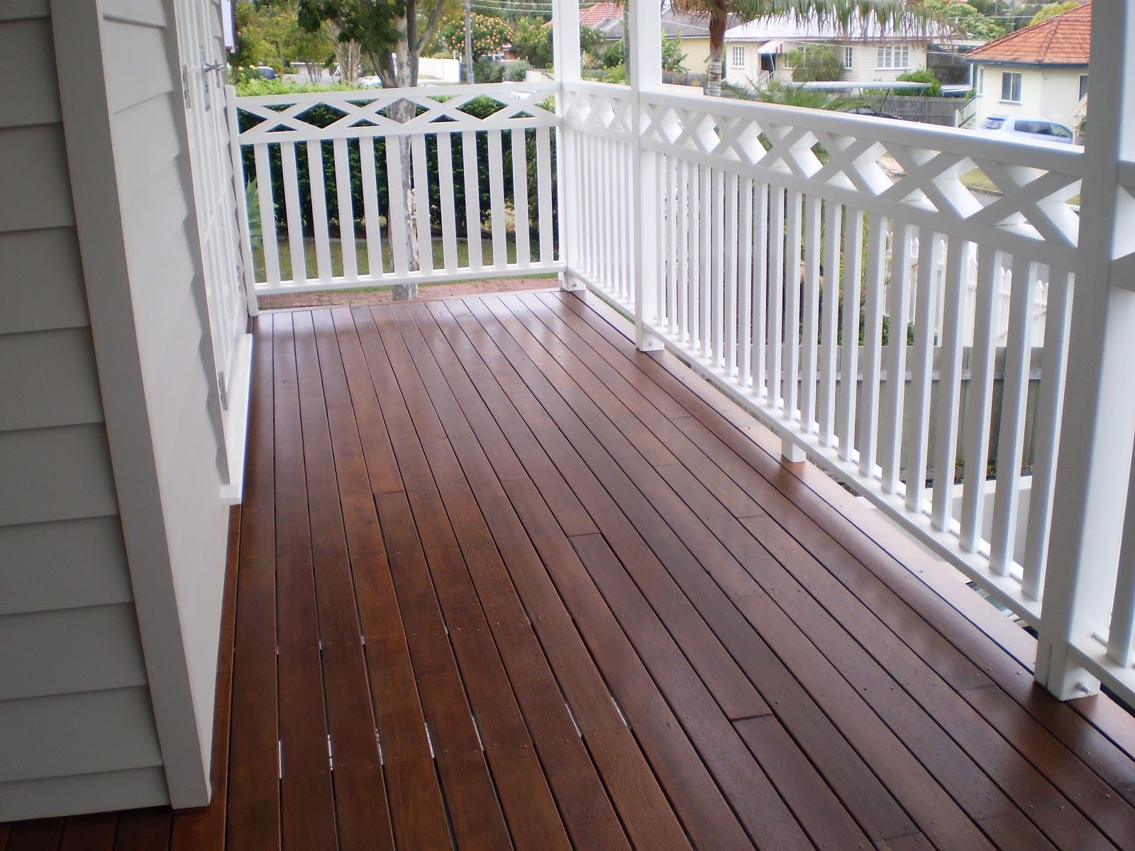 Wood deck with white railing remodel ideas pinterest for Timber decking handrail