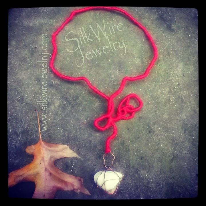 SilkWire Jewelry Neckpiece of silk and opal