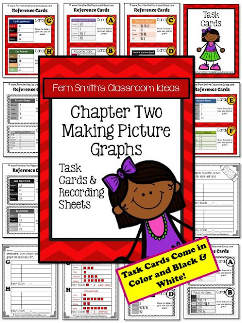 Fern Smith's Classroom Ideas Making Picture Graphs Task Cards, Recording Sheets and Answer Keys with a Cute Ready for School Kid Theme with No Common Core at TeacherspayTeachers.