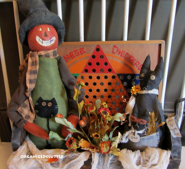 Primitive Halloween Vignette in a Toolbox
