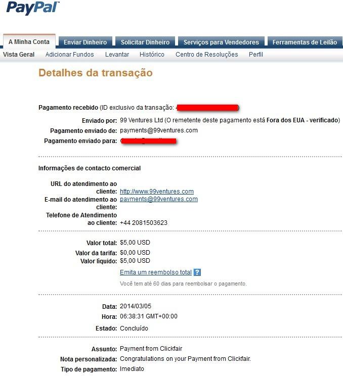 dinheiro paypal clickfair paga pagou payout money ptc