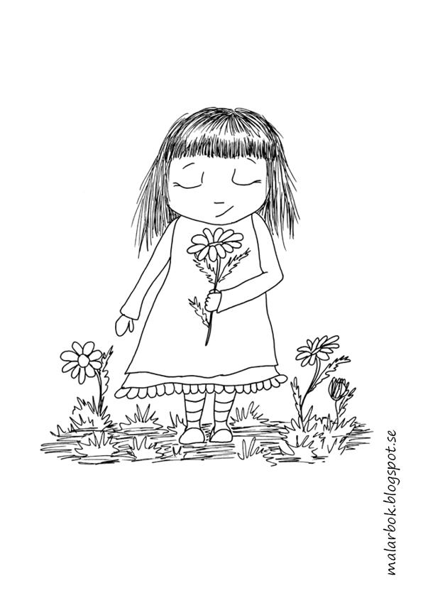 målarbild, flicka med blomma