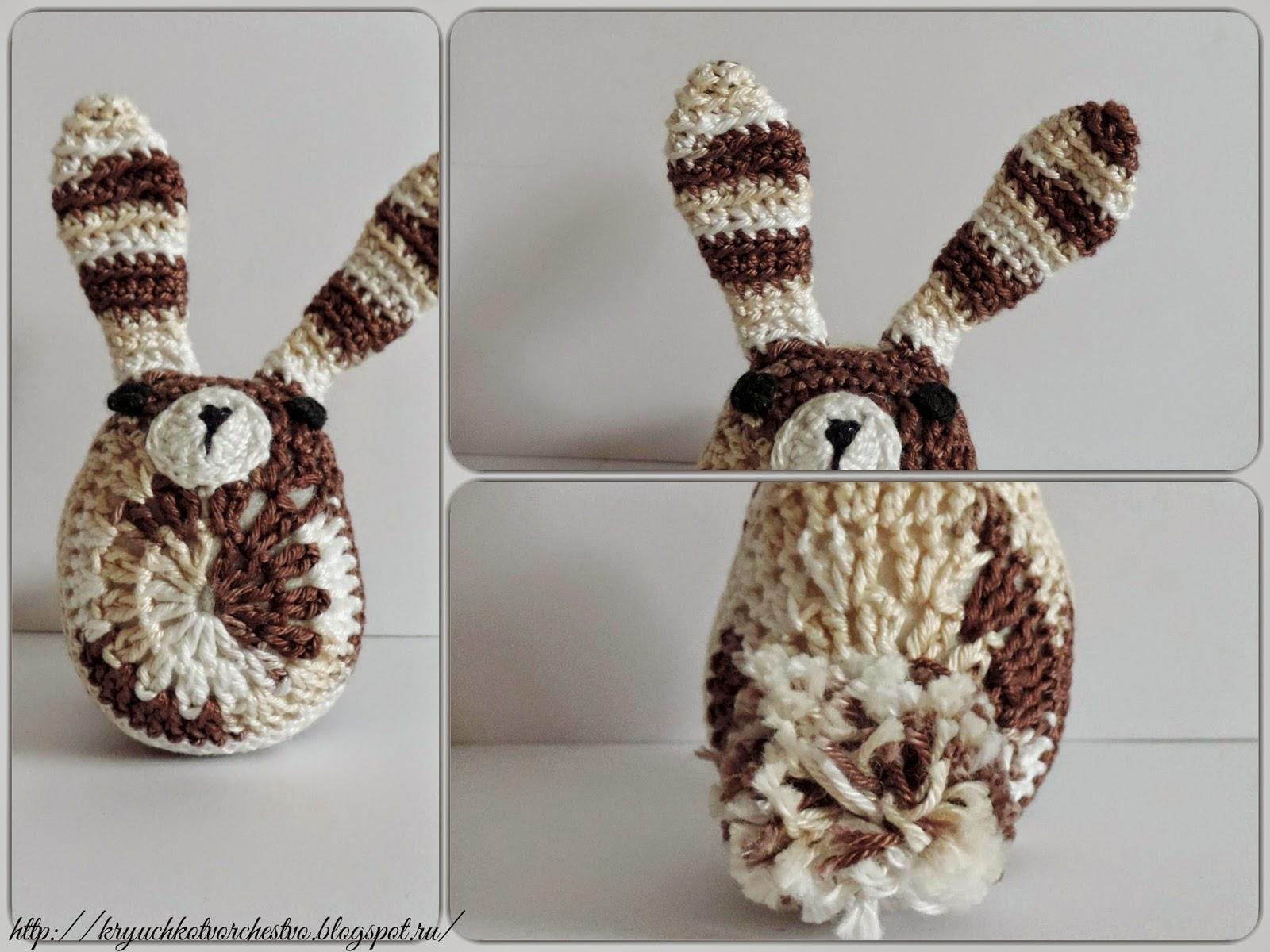 вязаный кролик, вязание крючком
