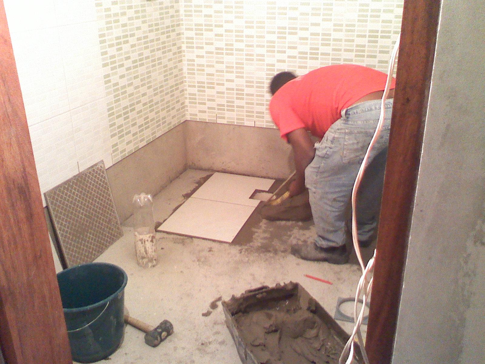 Como tudo começou Rejunte Rodapé e Porcelanato do Banheiro #B4171F 1600 1200