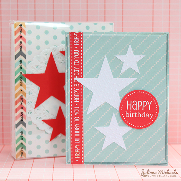 SRM Stickers Blog - Boxed Birthday Greetings by Juliana - #birthday #card set #clear box #doilies #gift set #stickers
