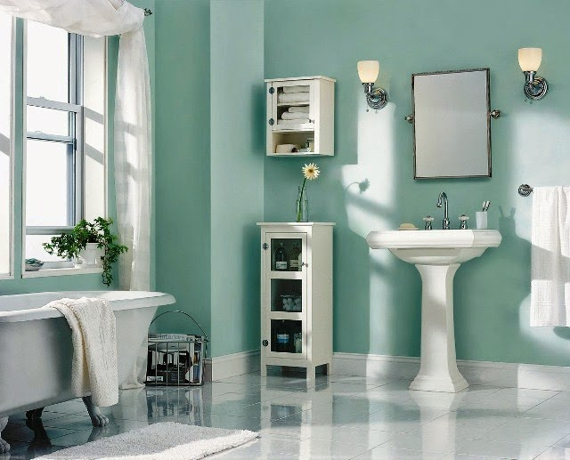 Accent wall paint ideas bathroom for Small bathroom wall ideas