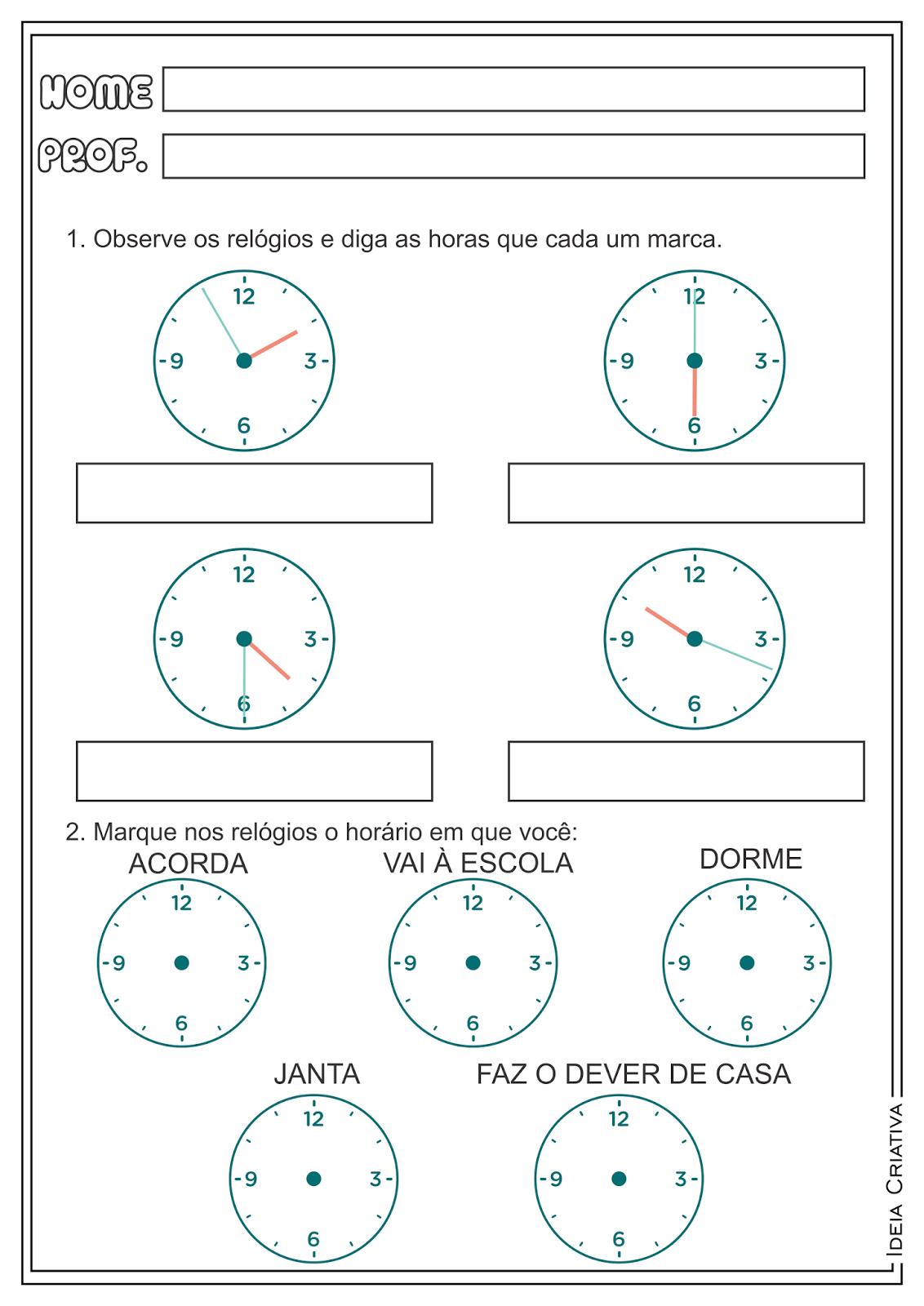 Trabalhando Horas com Relógios Atividades Ensino Fundamental