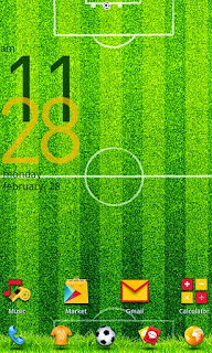 Screenshots of the Football GO LauncherEX Theme for Android mobile, tablet, and Smartphone.
